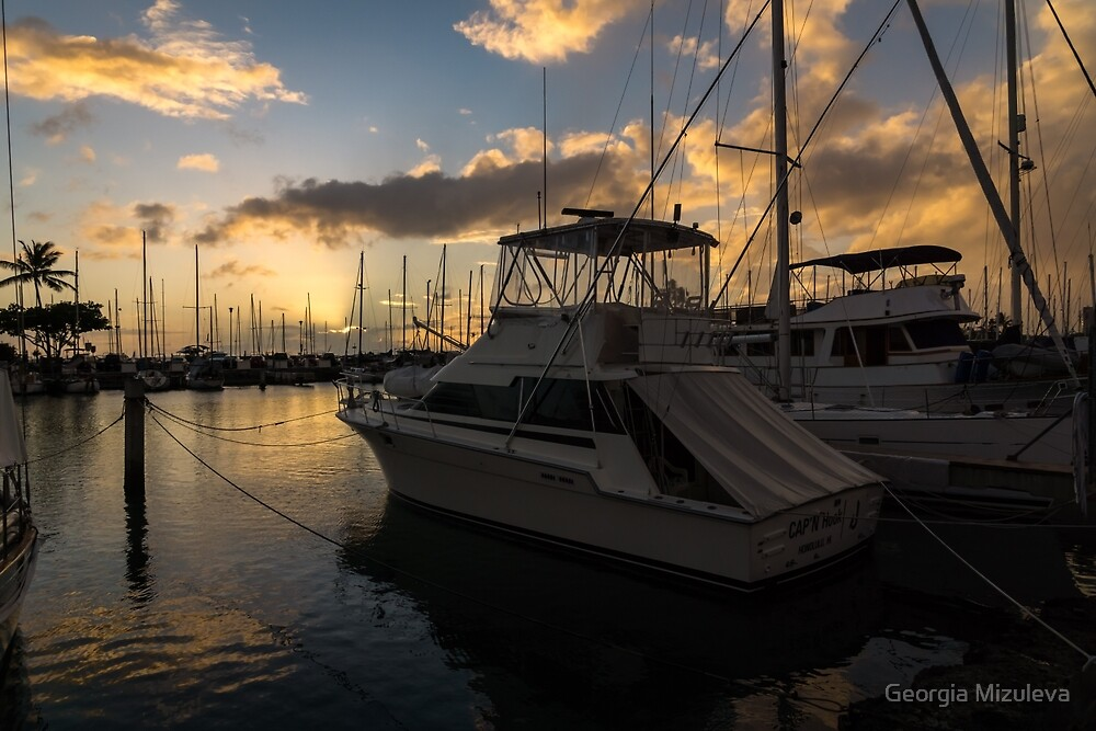 Lines, Masts and Clouds - Ala Wai Boat Harbor in Waikiki, Honolulu, Hawaii  by Georgia Mizuleva