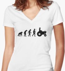 Farmer Evolution with tractor Women's Fitted V-Neck T-Shirt