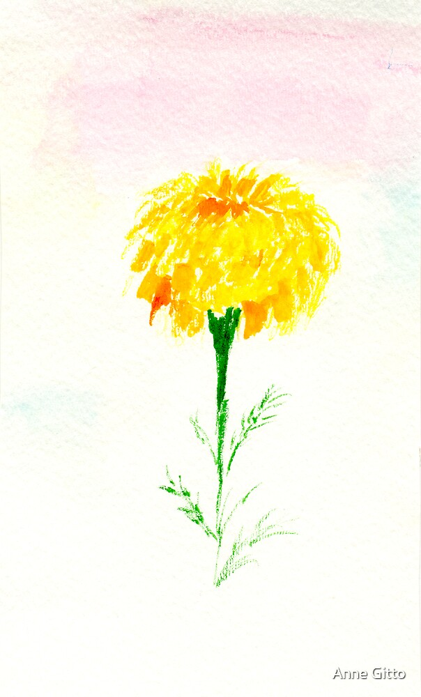 lone yellow marigold by Anne Gitto
