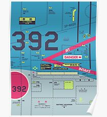F4 Phantom Jet Air Intake Detail Manga Japan Air Force - Vertical Blue Poster