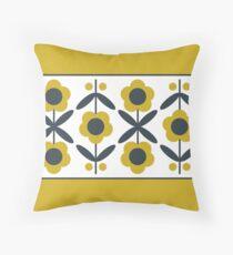 Retro Flower (Mustard) Throw Pillow