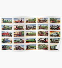 British locomotives from 1800s. Set of 25 in colour Poster