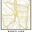 PORTLAND OREGON CITY STREET MAP ART by deificusArt