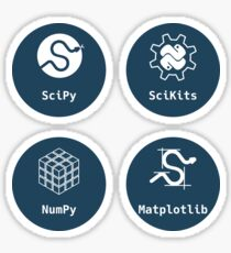 PyData - set of 4 stickers: NumPy, SciPy, SciKits, Matplotlib Sticker