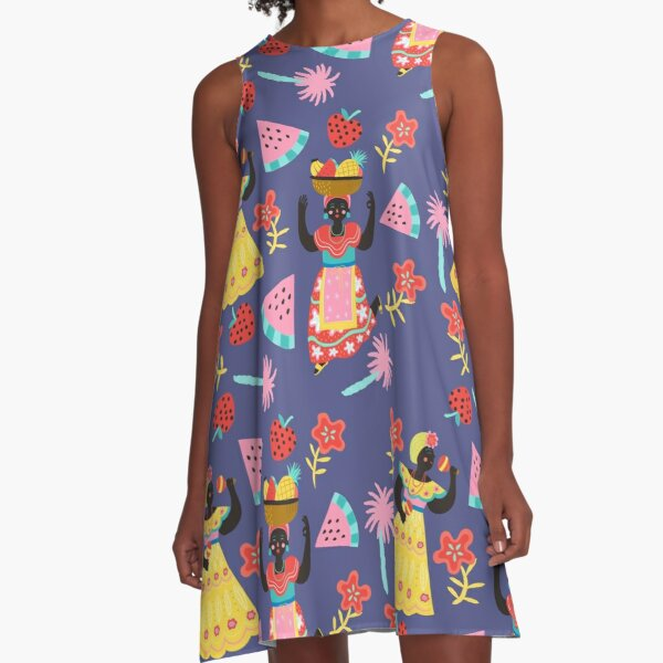 Cuban Dancing Girls Pattern A-Line Dress