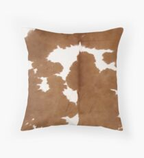 Cowhide tan and white | Texture Throw Pillow