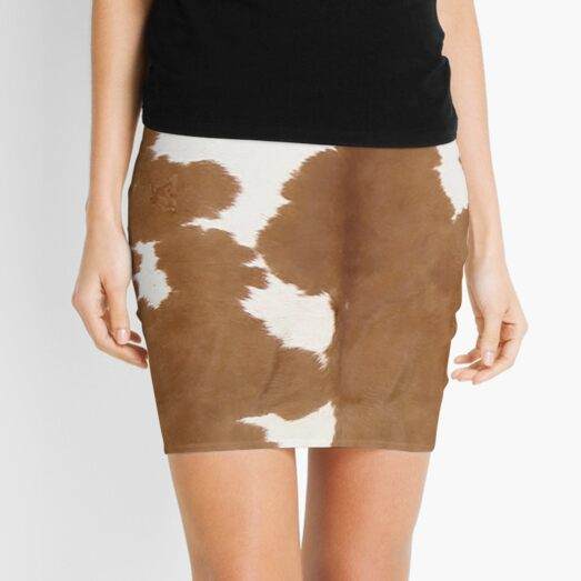 Cowhide tan and white | Texture Mini Skirt