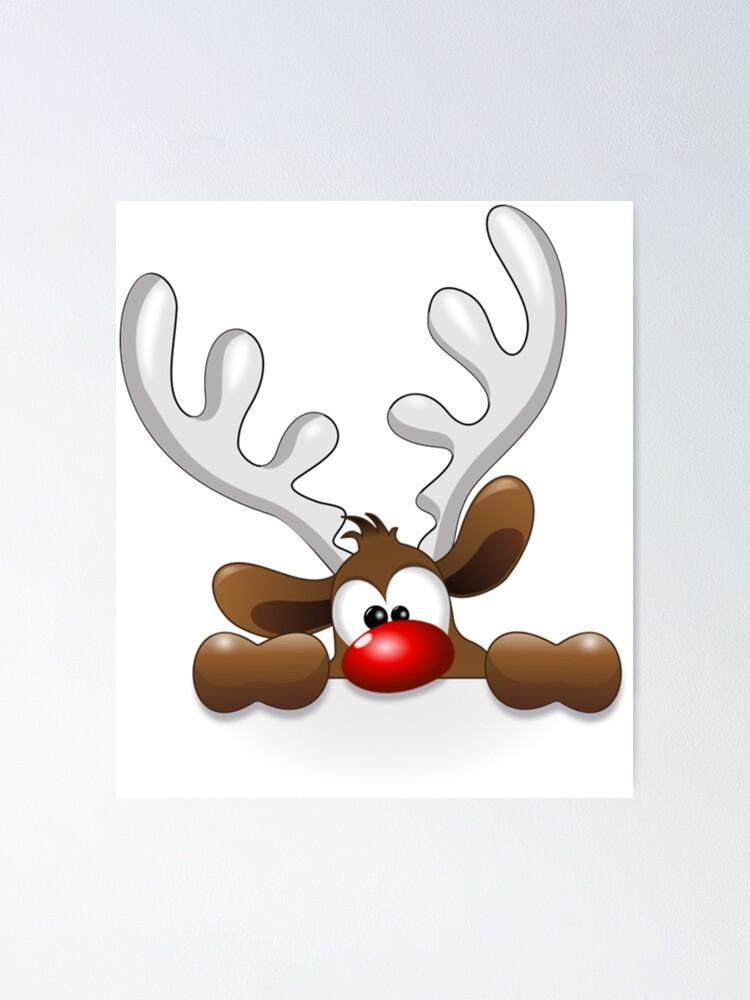 Rudolph The Red Nose Reindeer Peeking Vinyl Decal Sticker