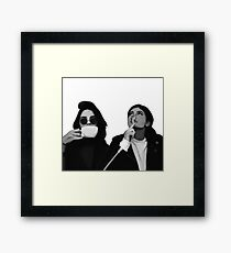 Kylie & Kendall Drinking Coffee Framed Print
