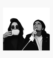 Kylie & Kendall Drinking Coffee Photographic Print