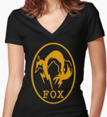 Metal Gear Solid 3: Snake Eater FOX Unit Logo Women's Fitted V-Neck T-Shirt