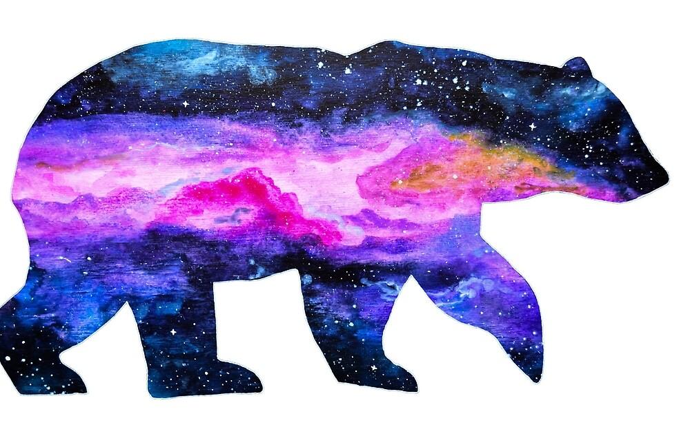 Galaxy Polar Bear Mixed Media Painting by MandalaArts