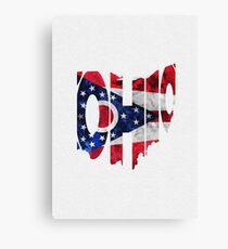 Ohio Typographic Map Flag Canvas Print