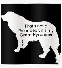 Polar Bear Pyrenees - white on black Poster