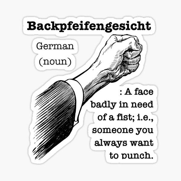 Backpfeifengesicht (untranslatable word) fist punch Sticker