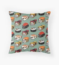 Sushi English Bulldog Throw Pillow