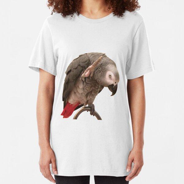 Einstein African Grey Parrot Waving Slim Fit T-Shirt