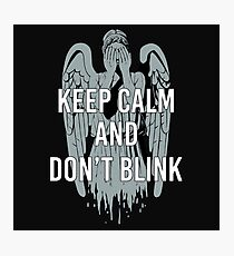 Weeping Angel With Don't Blink Text Photographic Print