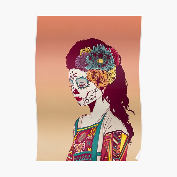 Mexican Skull Lady Poster