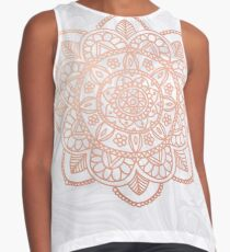 Rose Gold Mandala on White Marble Contrast Tank