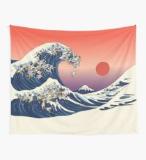 The Great Wave of French Bulldog Wall Tapestry