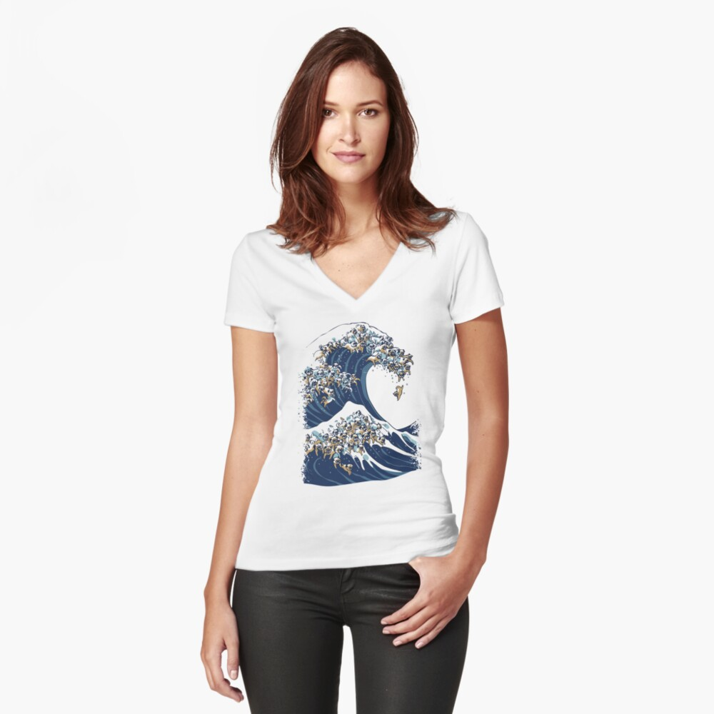 The Great Wave of Pug Fitted V-Neck T-Shirt