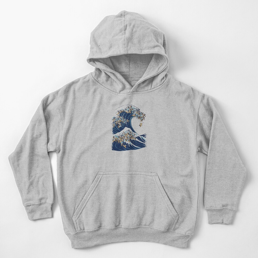 The Great Wave of Pug Kids Pullover Hoodie