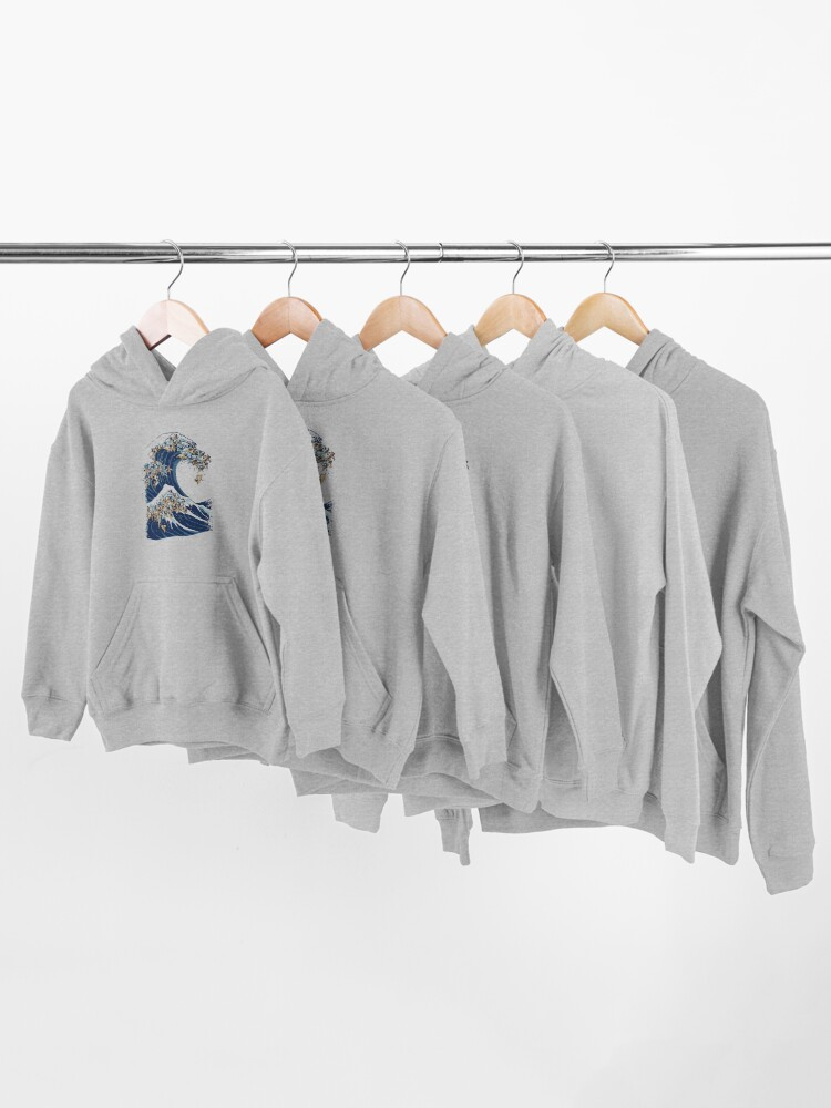 Alternate view of The Great Wave of Pug Kids Pullover Hoodie