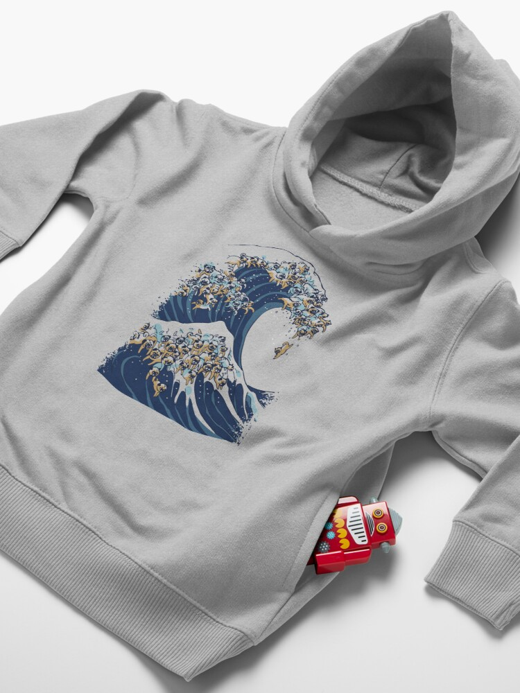 Alternate view of The Great Wave of Pug Toddler Pullover Hoodie