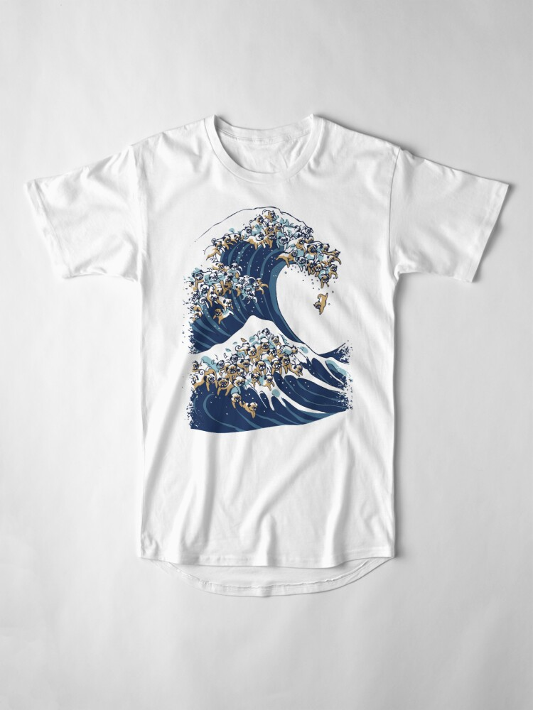 Alternate view of The Great Wave of Pug Long T-Shirt