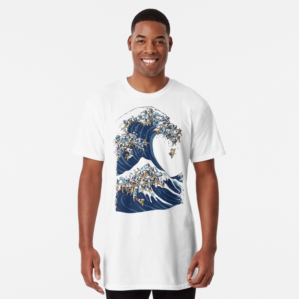 The Great Wave of Pug Long T-Shirt