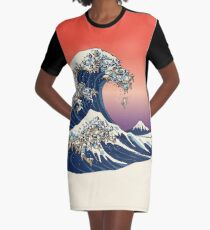 The Great Wave of Pug Graphic T-Shirt Dress
