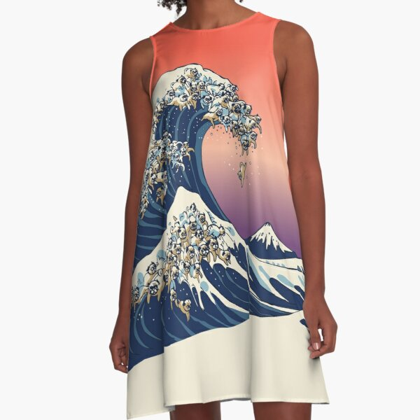 The Great Wave of Pug A-Line Dress