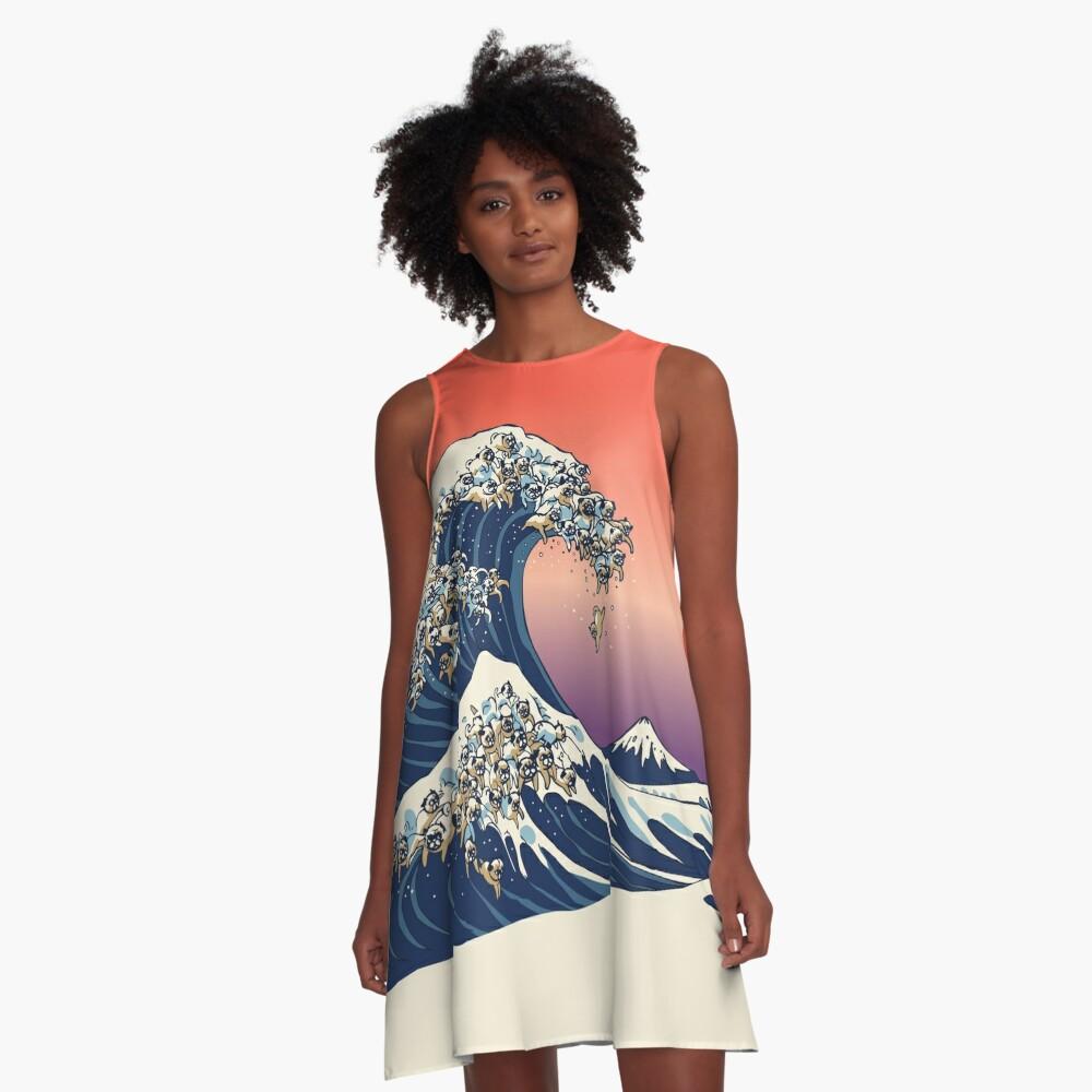 Die große Welle des Mops A-Linien Kleid