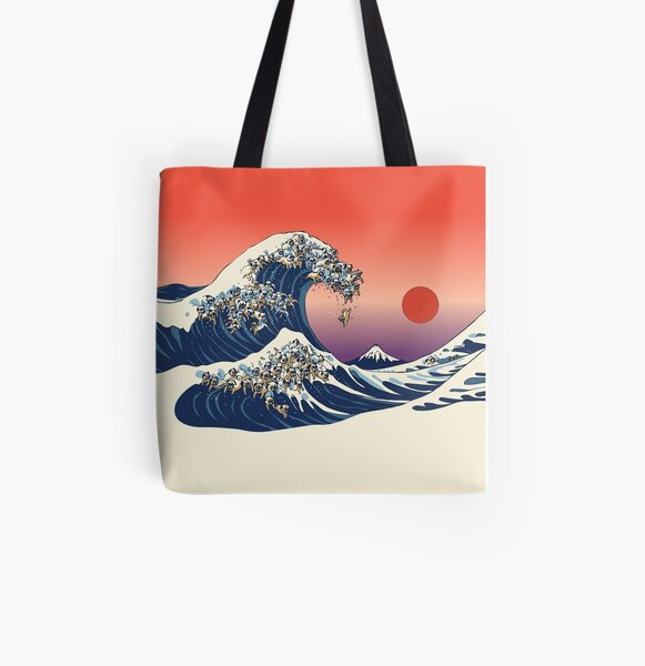 The Great Wave of Pug All Over Print Tote Bag
