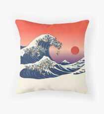 The Great Wave of Pug Throw Pillow