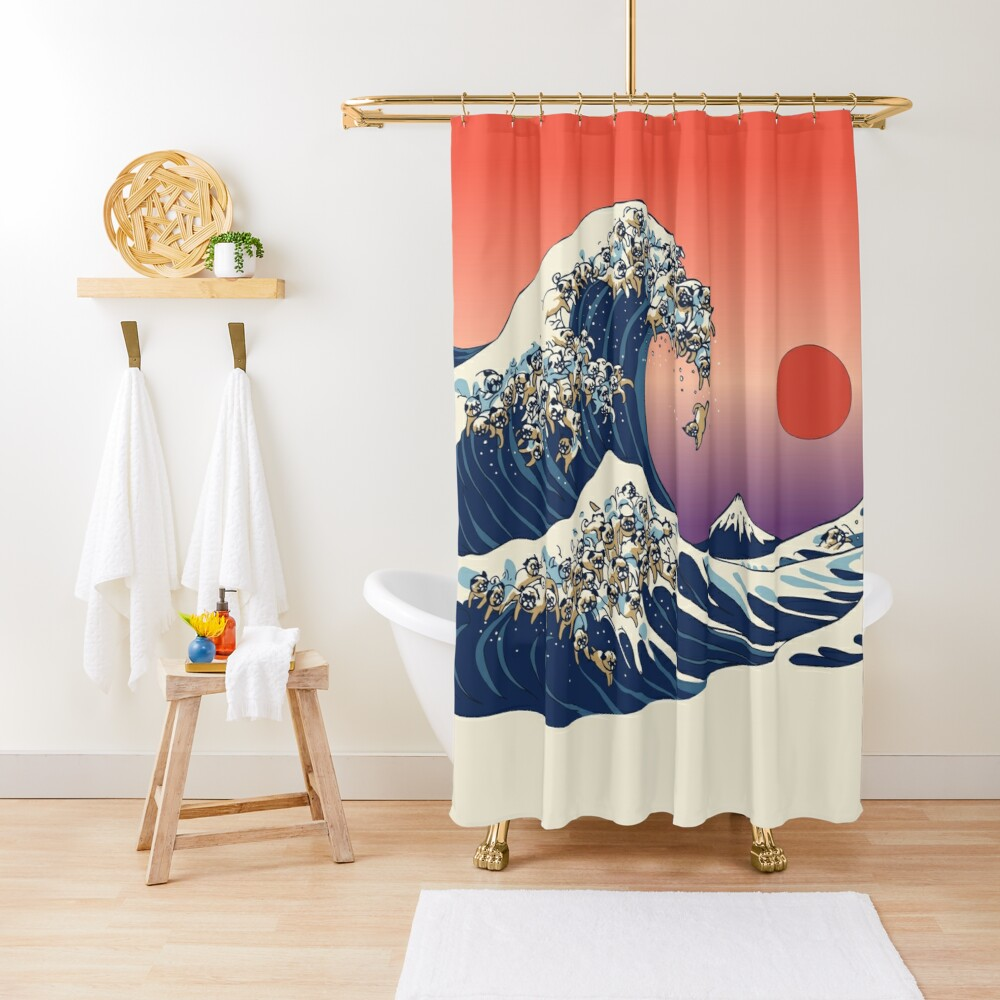 The Great Wave of Pug Shower Curtain