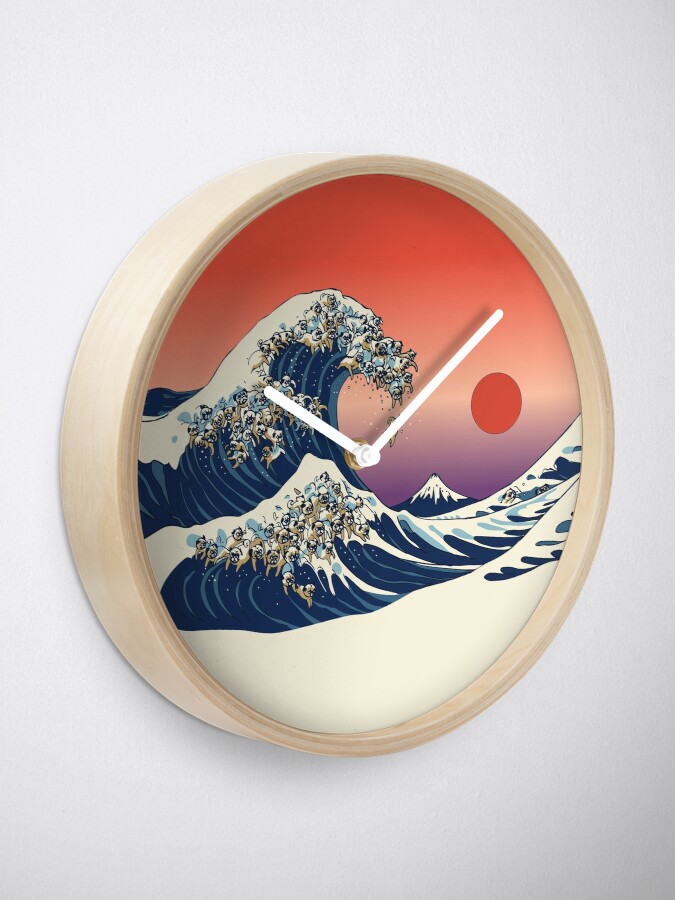 Alternate view of The Great Wave of Pug Clock