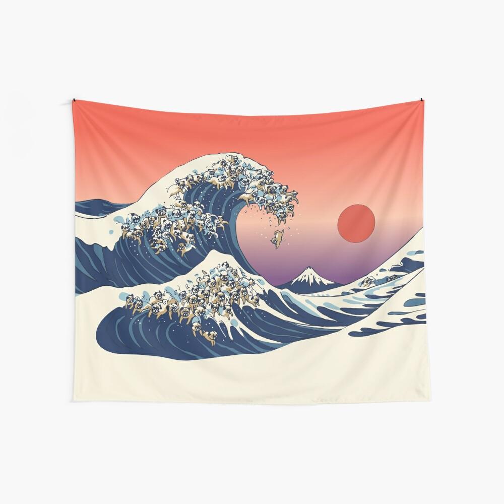 Die große Welle des Mops Wandbehang