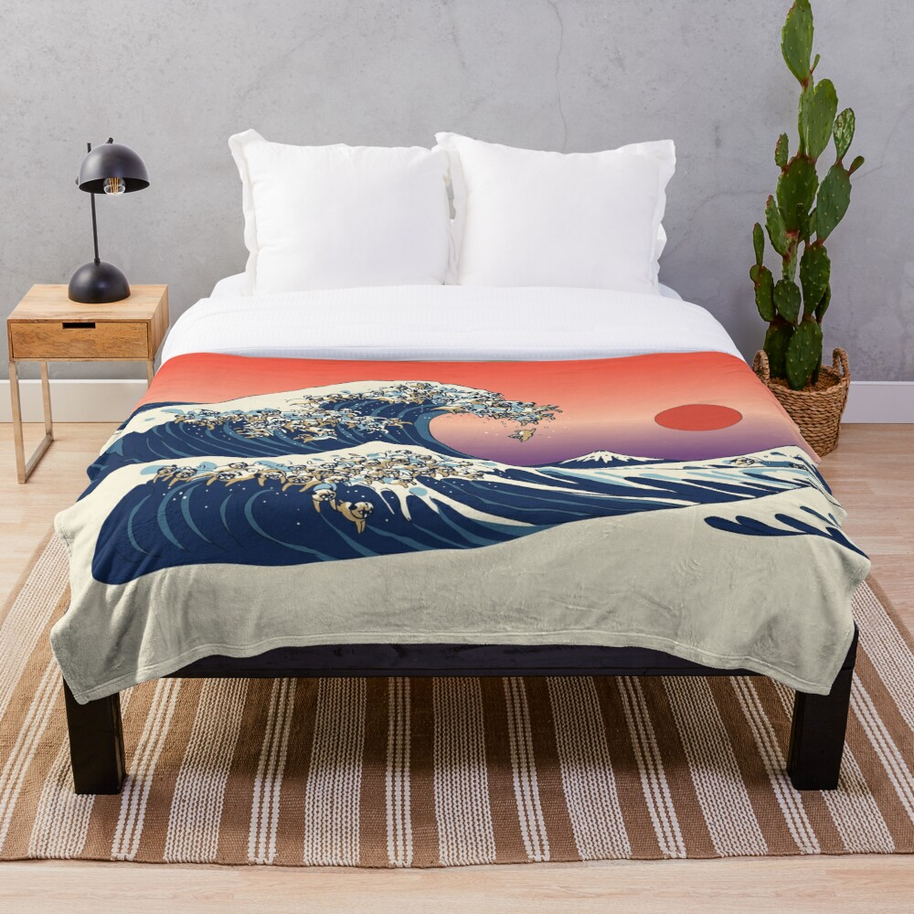 The Great Wave of Pug Throw Blanket