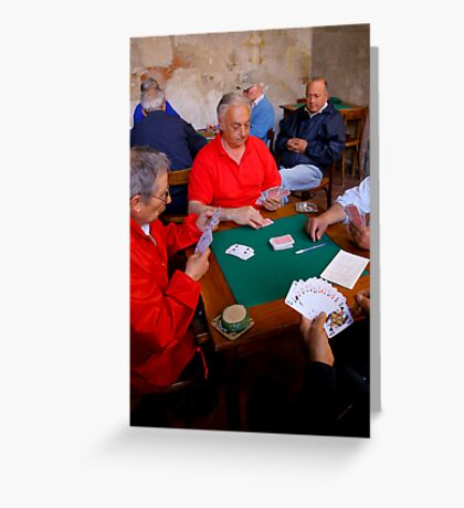 The Card Players, Sorrento, Italy Greeting Card