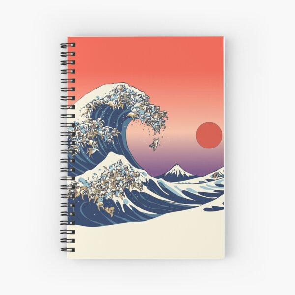 The Great Wave of English Bulldog Spiral Notebook