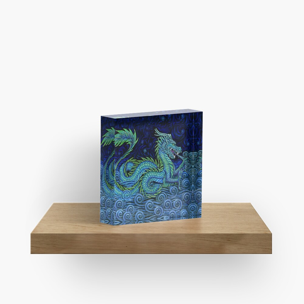 Chinese Azure Dragon Acrylic Block