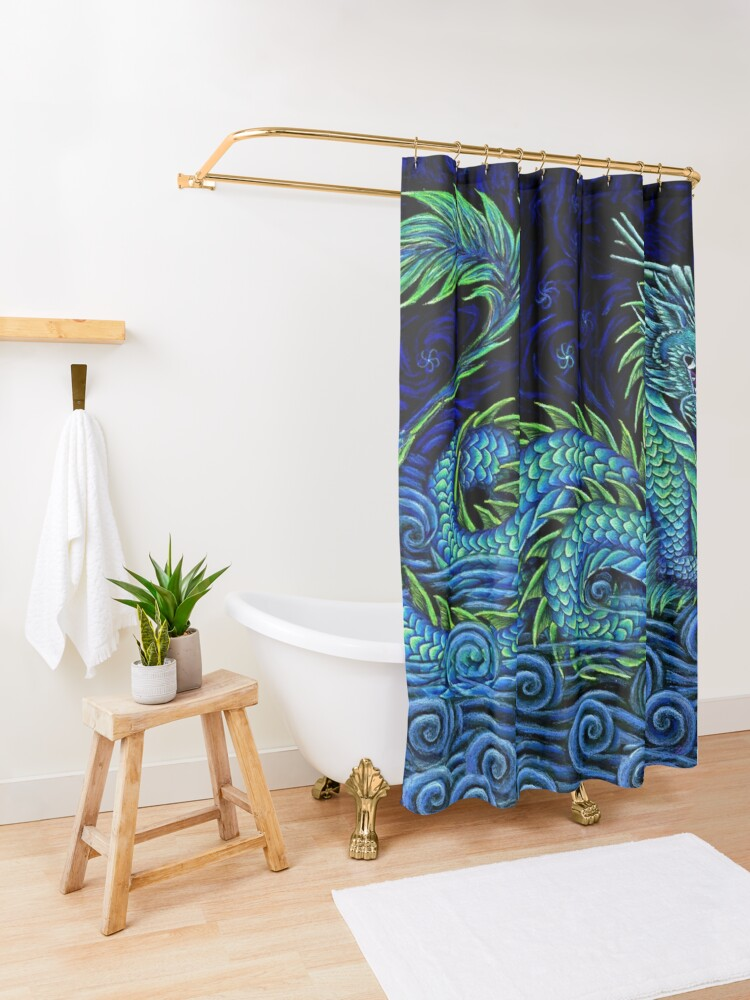 Alternate view of Chinese Azure Dragon Shower Curtain