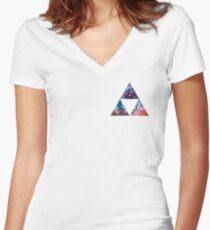 Triforce Nebula Women's Fitted V-Neck T-Shirt