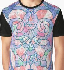 Art Nouveau Blue and Peach Batik Texture Graphic T-Shirt