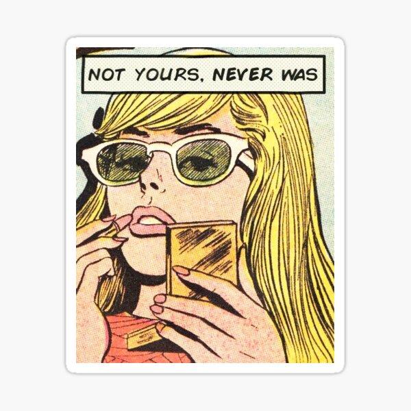 Chica pin up de cabello rubio kawaii pin up girl con lápiz labial - no es tuyo, nunca fue Pegatina