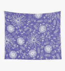 Scattered floral dreams in purple and white Wall Tapestry