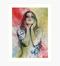 The Withering Spring II  (nude portrait, naked woman with magnolias) Art Print