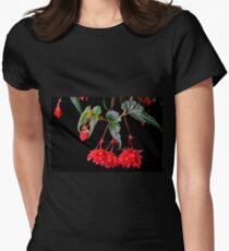 Blooming red flower on dark background  Women's Fitted T-Shirt
